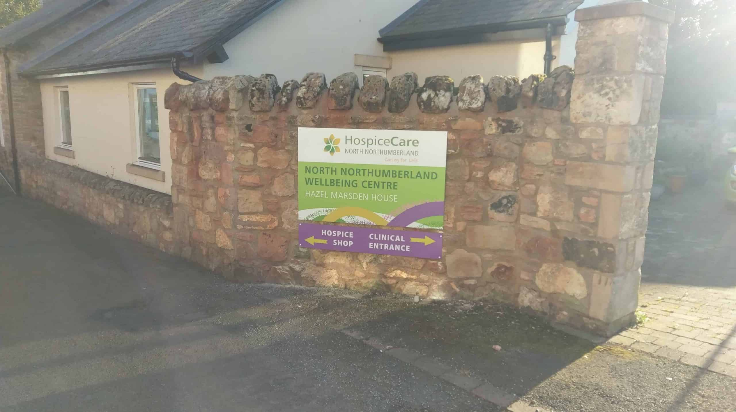 Metal sign for Hospice Care Berwick-upon-Tweed