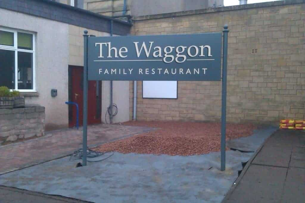 The Wagon Post and Panel Sign manufactured and installed by Fantasy Prints
