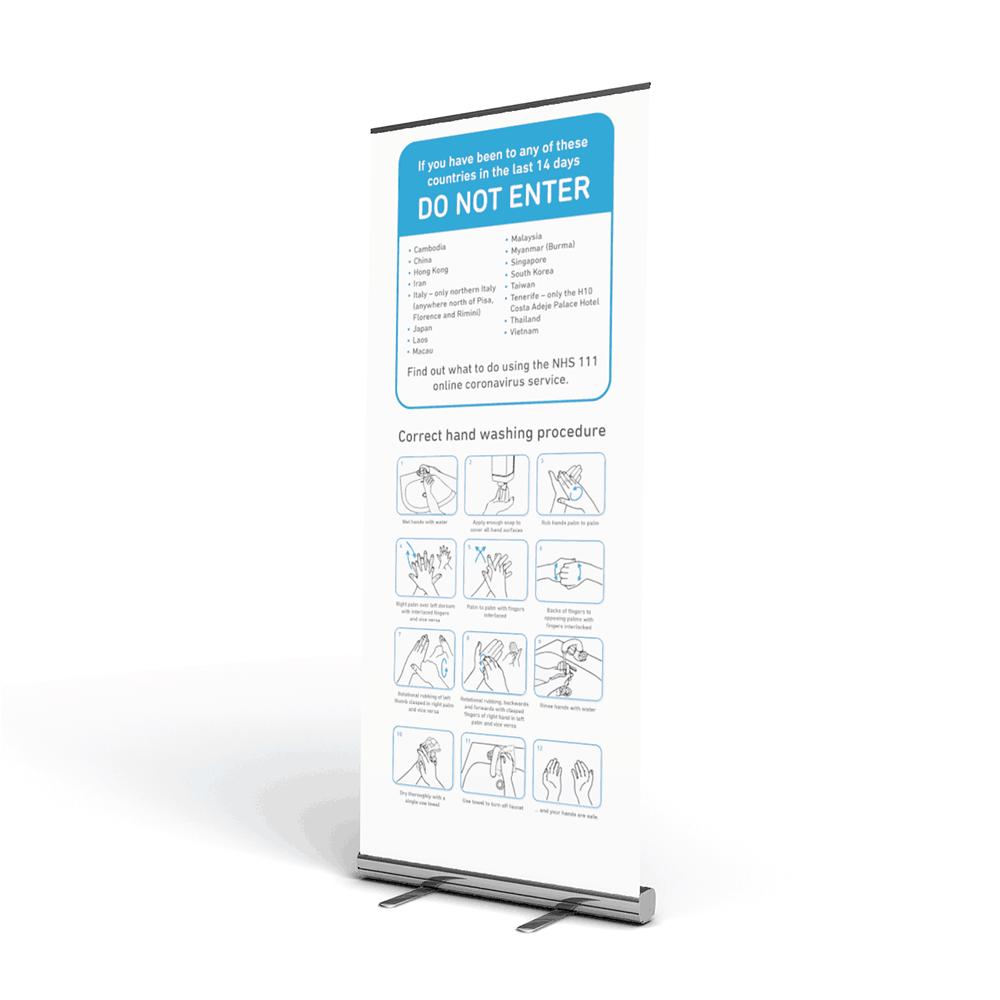 Hand Hygiene Roller Banner Stand